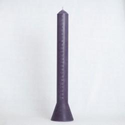 Kalenderlys med sølv 36cm, farve lilac